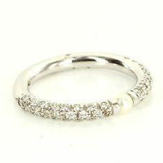 Estate Designer Mikimoto 18 Karat White Gold Diamond Akoya Cultured Pearl Ring $995