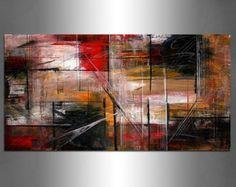 Arte pintura ORIGINAL rojo grandes obras de arte por largeartwork