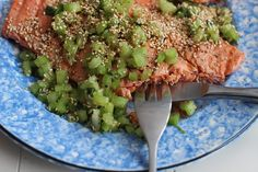 Grilled Coho Salmon With Sesame Celery Relish