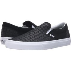 Vans Classic Slip-On ((Suede Checkers) Black) Skate Shoes ($36) ❤ liked on Polyvore featuring shoes, sneakers, black, black skate shoes, slip on boat shoes, black slip on shoes, deck shoes and vans shoes