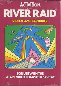 River Raid game cartridge for the Atari 2600 by Activision Vintage Video Games, Classic Video Games, Retro Video Games, Vintage Games, Video Game Art, Retro Games, Vintage Toys, Nintendo, Arcade Games