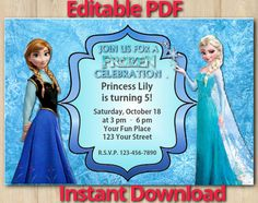 FrozenFreePrintableInvitationsTemplates cakes Pinterest