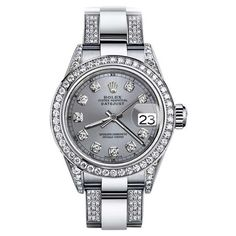 Pre-owned Rolex Oyster Perpetual Datejust Stainless Steel and Diamond... ($6,999) ❤ liked on Polyvore featuring jewelry, watches, stainless steel watches, diamond watches, diamond jewellery, stainless steel wrist watch and rolex watches