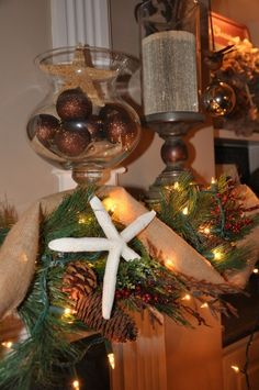 Christmas Mantle ~ Coastal Style (and I see some Willow House items that I own! Beach Christmas, Coastal Christmas, Cozy Christmas, Christmas In July, Christmas Goodies, All Things Christmas, Christmas Ideas, Christmas Decorations, Coastal Style