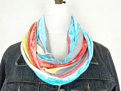 Striped Infinity Scarf Turquoise Red Yellow by ModaBellaScarves