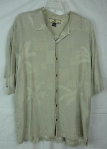 Tommy Bahama Men's Green Silk Shirt Palm Tree Design Short Sleeve Button Front L | eBay