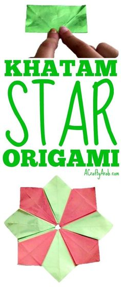 We used the ancient art of origami to make a khatam, Arabic for eight point star, seen quite a bit in Islamic architecture, literature, and culture. Fun Arts And Crafts, Fun Diy Crafts, Crafts To Make And Sell, Paper Crafts For Kids, Adult Crafts, Easy Crafts For Kids, Kid Crafts, Origami Techniques, Muslim Culture