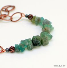 Apatite Nuggets and Chain Bracelet Copper Chain by WillOaksStudio, $38.00