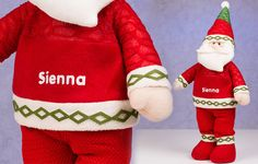 Adults and children alike will love this soft Santa figurine! With his jolly face and personalised top he'll make a treasured member of the family this Christmas.  He stands approx 60cm tall and is dressed in soft, fleecy, traditional Santa gear. To top it all off, you can personalise your santa with Any Name, which will appear on the front of his jumper. #christmasgift #gift #christmas #giftideas