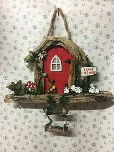 Fairy Tree Houses, Clay Fairy House, Fairy Garden Houses, Vase Crafts, Craft Stick Crafts, Diy And Crafts, Diy Fairy Door, Fairy Doors, Fairy Crafts