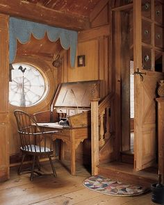 A pine schoolmaster's desk in this cozy space gets good light from the window alongside it. Pioneer House, Interior Decorating, Interior Design, Cottage Decorating, American Houses, Creative Decor, Window Coverings, Country Life, House Tours