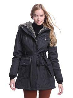 Kensie Women's Parka with Faux Fur (Black)