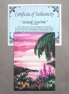 Original ACEO Island Tropical Sunset Seascape Miniature Watercolor Reinecke COA #Miniature
