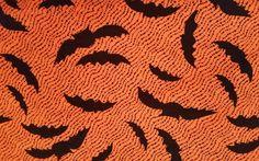 Halloween Spooky Bat Orange Debbie Mumm Jo-Ann Cotton Quilt Craft Fabric 1 Yard #DebbieMumm