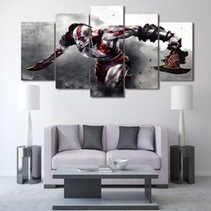 Style Your Home Today With This Amazing 5 Panel Game God of War Framed canvas Wall Art For $99.00  Discover more canvas selection here http://www.octotreasures.com  If you want to create a customized canvas by printing your own pictures or photos, please contact us.