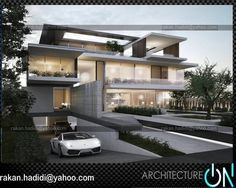 Architecture On ( Dream Car Garage, Modern House Design, Contemporary Style, Dream Cars, Beach House, Basement, Exterior, Mansions, Architecture