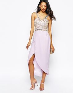 Virgos Lounge Crystal Embellished Midi Dress in Lilac UK 12/EU 40/US 8
