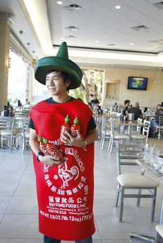 Sriracha bottle costume