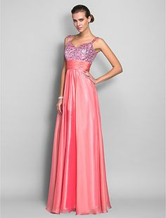 Sheath/Column Spaghetti Straps Floor-length Chiffon And Sequined Evening Dress With Ruching (952545) - USD $ 99.99