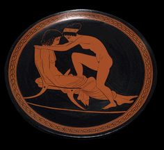 Ancient Greek Plate with Erotic Scene Ancient Greek Art, Ancient Greece, Le Kraken, Greece Art, Greek Pottery, Roman Art, Vases, Anatomy Art, Rodin