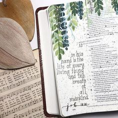 I like the vines - they don't block th. I like the vines – they don't block the rest of the scripture, but highlight the verses you're focusing on Bible Notes, My Bible, Bible Art, Bible Doodling, Bible Study Journal, Scripture Study, Rest Scripture, Art Journaling, Prayer Journals