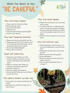 An excellent infographic created by the Child & Nature Alliance of Canada supporting parents and caregivers with prompts that support #riskyplay. Alternative phrases to use instead of #becareful. #outdoorplay #thrillingplay #adventureplay Conscious Parenting, Mindful Parenting, Gentle Parenting, Kids And Parenting, Parenting Hacks, Conscious Discipline, Peaceful Parenting, Do You Feel, How Are You Feeling