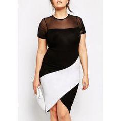Stylish Plunging Neck Half Sleeve Drawstring Plus Size Women's Dress | TwinkleDeals.com