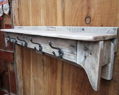 Large rustic pallet coat hook with shelf  Natural finish