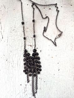 Black and Silver Chainmaille Delicate Lingerie Necklace