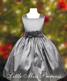 Elegant Silver Christmas Dress:(Girls Christmas Dresses)