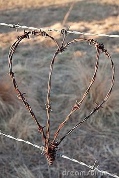 Photo about Rustic heart from barbed wire hanging from fence outdoor in natural light. Image of symbol, rusty, security - 16089081 Heart In Nature, Heart Art, I Love Heart, My Heart, Barb Wire Crafts, Metal Crafts, Barbed Wire Art, Art Fil, Chicken Wire