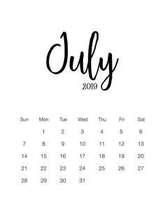 July Calendar 2019 Printable Notes and To Do list