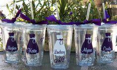 5 Personalized Bride, Bridesmaid, Junior Bridesmaid, Flower Girl and Maid of Honor Acrylic Tumblers, Bridesmaid Gifts. $60, via Etsy.