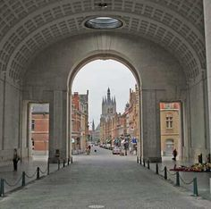 Menenpoort, Ypres, Belgium, here, every evening at 8, The Last Post is played here by a clarion player since 1929 (except 1940-1944)