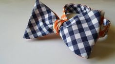 Blue and Orange Gingham Bowtie by PhiTies on Etsy
