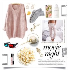 """""""Movie Night"""" by linmari ❤ liked on Polyvore featuring Disney, Global Views, Aerie, Too Faced Cosmetics, Lash Star Beauty, Byredo, Deborah Ehrlich and Casetify"""