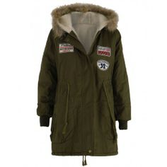This women's khaki parka coat fits into the military trend and is ideal for casual everyday wear for colder days. Fully lined with cream sheepskin fur / fleece it also features 3 embroidered travel badges to front. The fur at the hood is detachable via a hidden zip. The two deep open style pockets to front make it functional while on the go, keeping you warm with a draw string waist, also giving you a more fitted look  Womens military jackets are one of the hottest trends for A/W so jo…