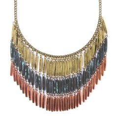 Antique Mixed Metal Beads Statement Necklace