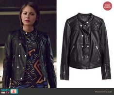 Thea's leather jacket on Arrow.  Outfit Details: http://wornontv.net/45238/ #Arrow