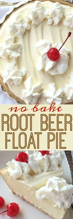 Food and Drink: Creamy, cool, light refreshing! This root beer float pie is the perfect treat on those hot sunny days. Only a few minutes of prep and then some freezer time and you have an easy, no bake pie that tastes EXACTLY like a root beer float! Beaux Desserts, 13 Desserts, Delicious Desserts, Yummy Food, Easy Summer Desserts, Light Desserts, Light Dessert Recipes, Low Fat Desserts, Refreshing Desserts