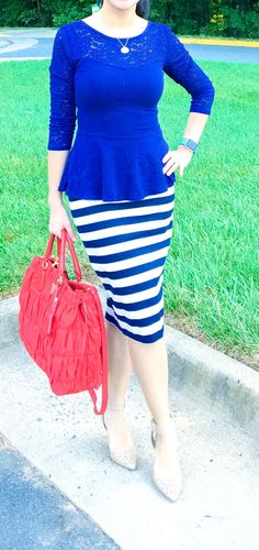 woman wearing blue Express peplum top, navy blue and white striped The Limited pencil skirt, red prada tote, and nude sam edelman heels - outfit ideas, style fashion, and style inspiration for spring fashion, spring outfits, summer outfits, and summer fashion