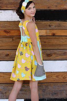 June Dress – Violette Field Threads Vintage Girls Dresses, Little Girl Dresses, Trendy Dresses, Summer Dresses, Sewing Patterns Girls, Sewing For Kids, Dress Patterns, Gathered Skirt, Well Dressed