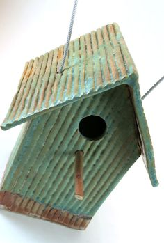 Pottery Bird House - Tin Pan Alley Ceramic Birdhouse in Weathered Bronze - 864