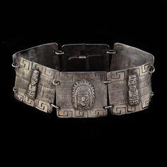 Vintage Peruvian Sterling Silver Figural Link Bracelet