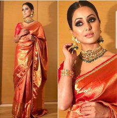 Love the eye makeup Sarees in 2019 Banarsi saree, Saree eye makeup for yellow saree - Eye Makeup Banarsi Saree, Kanchipuram Saree, Lehenga, Kanjivaram Sarees, Silk Sarees, Saree Blouse Patterns, Saree Blouse Designs, Indian Dresses, Indian Outfits