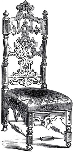 Interesting Elizabethan Chair Image - The Graphics Fairy