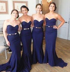 Navy Mermaid bridesmaid dresses, Sexy bridesmaid dresses,affordable bridesmaid dresses,Mop the floor long prom dress