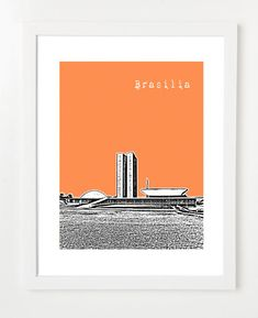 Brasilia Brazil Art Poster  City Skyline Series by BugsyAndSprite