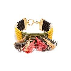 Isabel Marant The Wailers multi-tassel bracelet (€210) ❤ liked on Polyvore featuring jewelry, bracelets, khaki multi, boho bangles, charm jewelry, boho style jewelry, boho charms and charm bangles