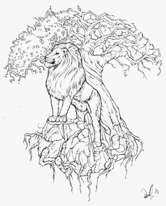 Black Outline Lion With Tree Of Life Tattoo Stencil